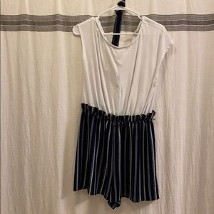 Navy Blue and White Pin Stripe Romper
